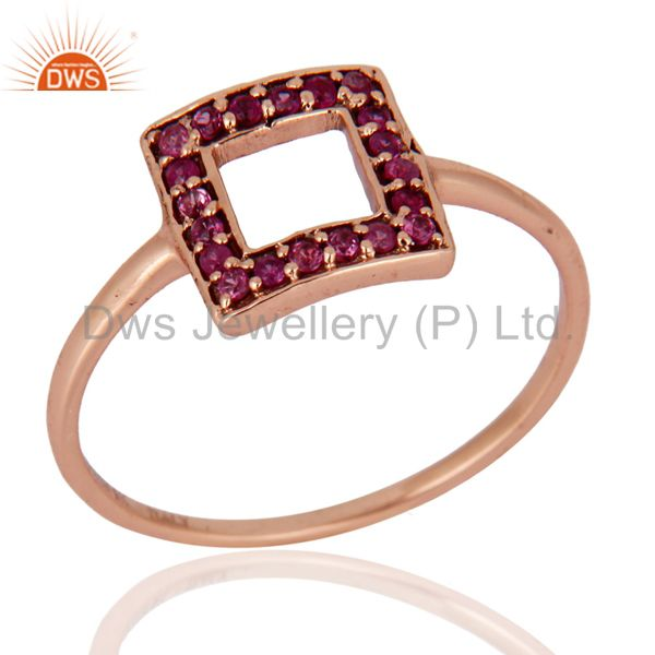 Pink Sapphire Gemstone Engagement & Wedding Ring Made In 9K Solid Rose Gold