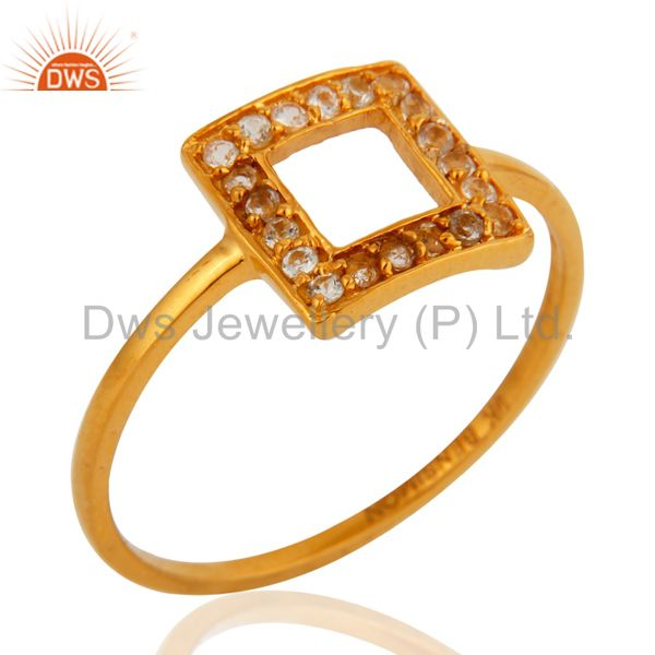9K Solid Yellow Gold Pave Set White Topaz Open Circle Stacking Engagement Ring