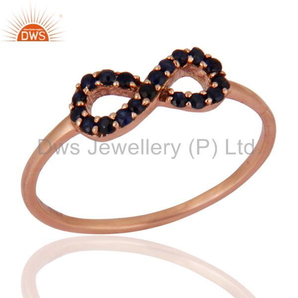 Pink Sapphire Promise / Infinity Wedding Band Ring Solid 9K Rose Gold Jewellery