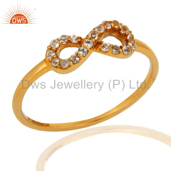 White Topaz Accent Promise Infinity Ring Made in Solid 9K Yellow Gold Jewelry