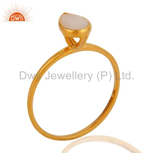 9K Solid Yellow Gold Rainbow Moonstone Engagement Stacking Ring