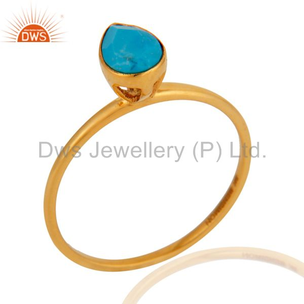 9K Solid Yellow Gold Genuine Matrix Turquoise Stackable Ring