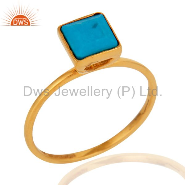 Handmade Turquoise Gemstone Ring Made In 9K Solid Yellow Gold