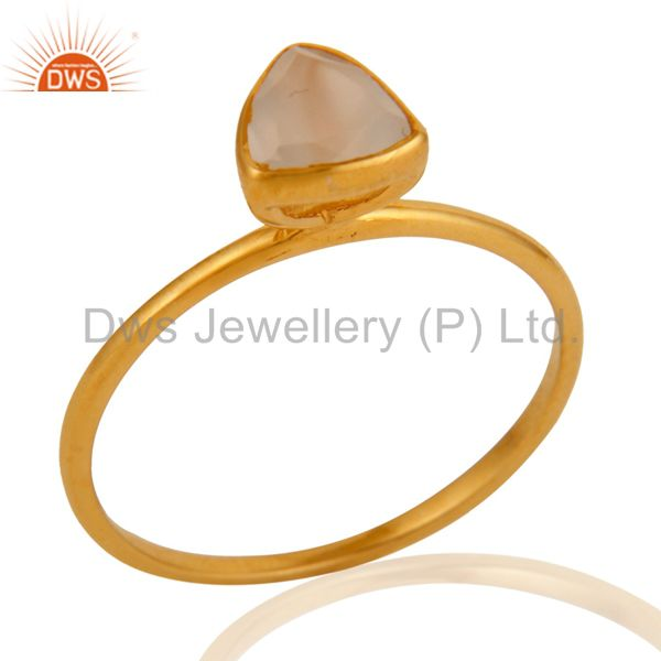 9K Solid Gold Natural White Agate Handmade Engagement Stacking Ring Gift For Her