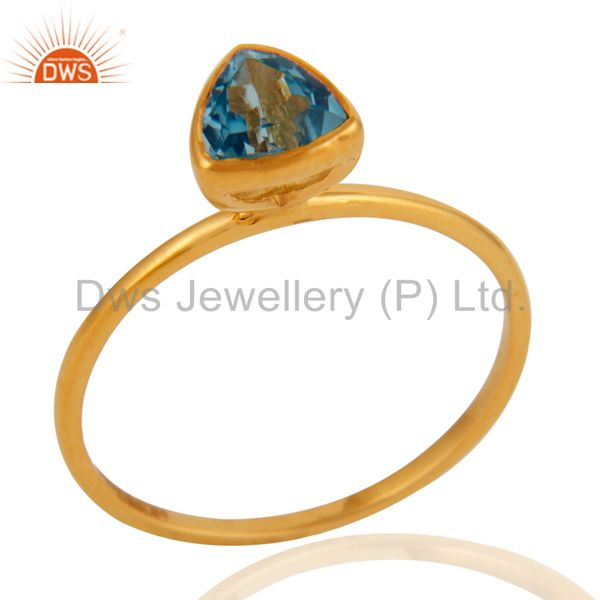 Handmade 9K Yellow Gold Trillion Cut Blue Topaz Gemstone Engagement Ring
