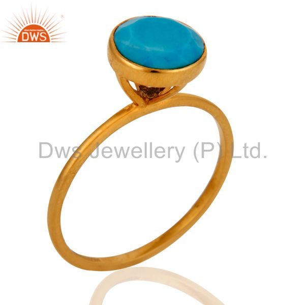 Beautiful 9ct Yellow Gold December Birthstone Turquoise Ring For Birthday Gift