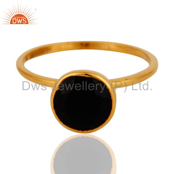 9K Solid Yellow Gold Round Cut Black Onyx Gemstone Engagement Stacking Ring