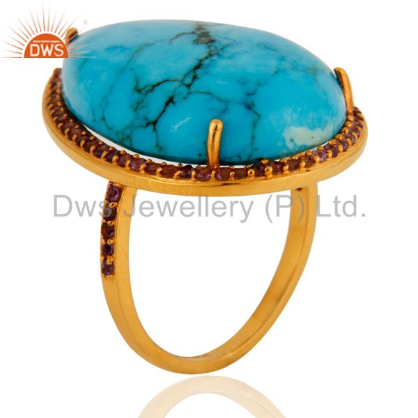 Gorgeous 9k Solid Yellow Gold Turquoise & Amethyst Wedding Day Ring For Womens