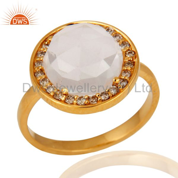 18K Solid Yellow Gold Crystal Quartz And White Diamond Stack Ring