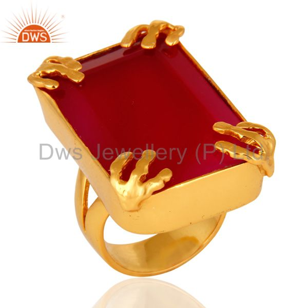 18K Yellow Gold Plated Dyed Pink Chalcedony Gemstone Ring