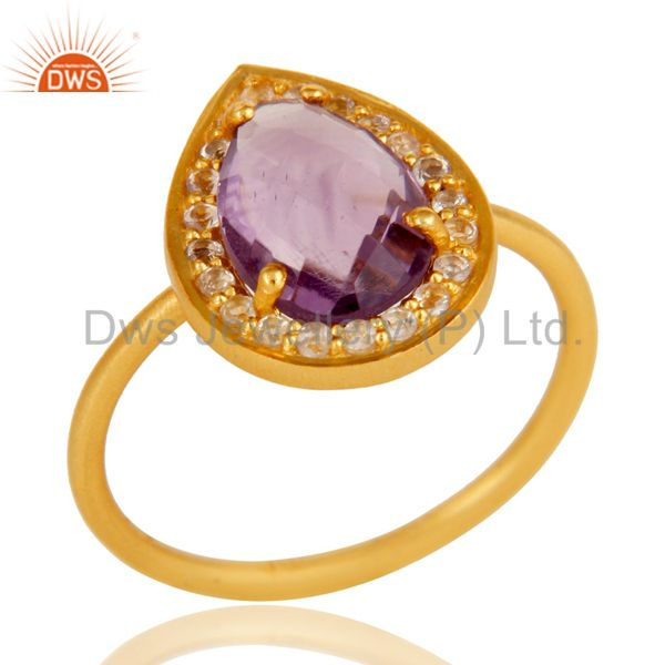 18k Yellow Gold Plated Sterling Silver Amethyst & White Topaz Stacking Ring
