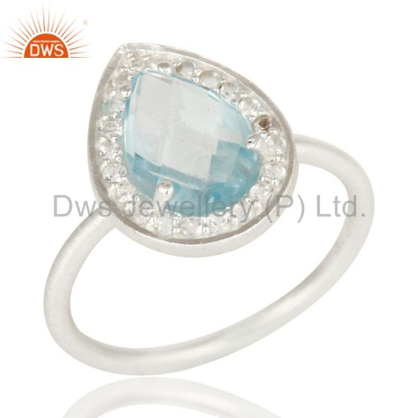 925 Sterling Silver Natural Blue Topaz And White Topaz Stacking Ring