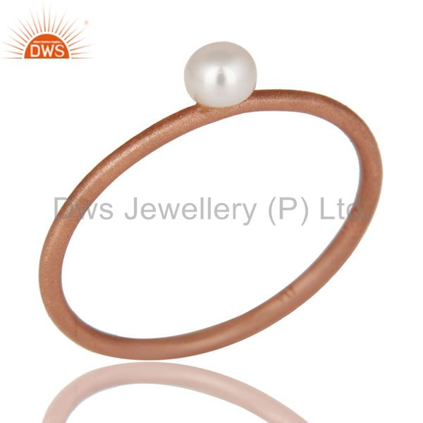 18K Rose Gold Plated Sterling Silver Natural White Pearl Stackable Ring