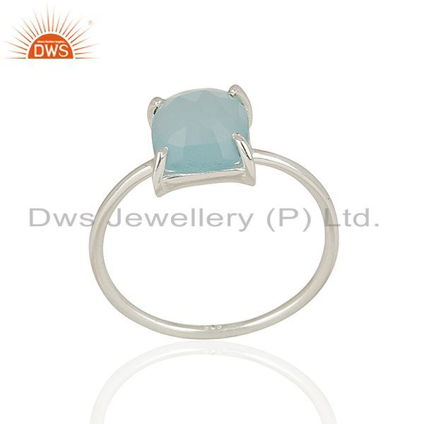 Aqua Chalcedony Stackable 18K Gold Plated 925 Sterling Silver Ring Jewelry