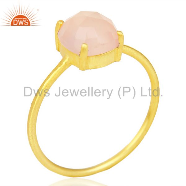 Rose Chalcedony Cushion Cut 14K Gold Plated Sleek Ring In Solid Sterling Silver