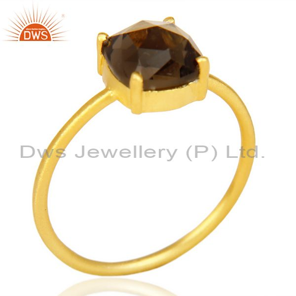 Smoky Topaz Cushion Cut 14K Gold Plated Sleek Ring In Solid Sterling Silver