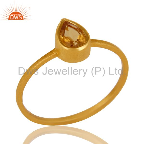 18K Yellow Gold Plated Sterling Silver Citrine Gemstone Stacking Ring