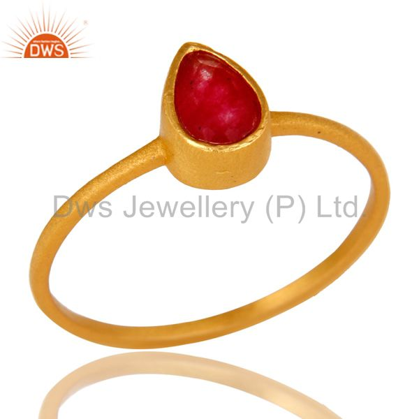 18K Yellow Gold Plated Sterling Silver Red Aventurine Gemstone Stacking Ring