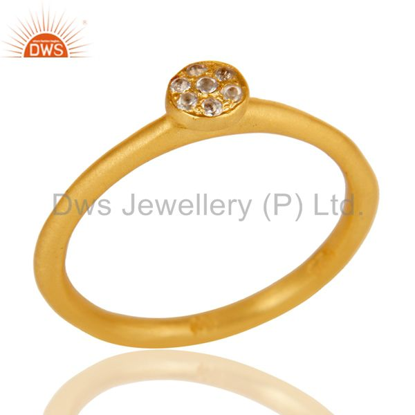 Handmade Simple Setting 18k Gold Plated Sterling Silver Ring with White Topaz