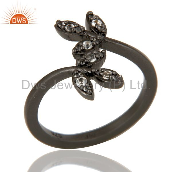 Handmade Flower Design Black Oxidized Sterling Silver Ring with White Topaz