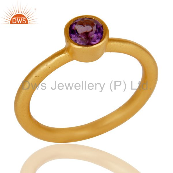 18K Yellow Gold Plated Sterling Silver Natural Amethyst Stacking Ring