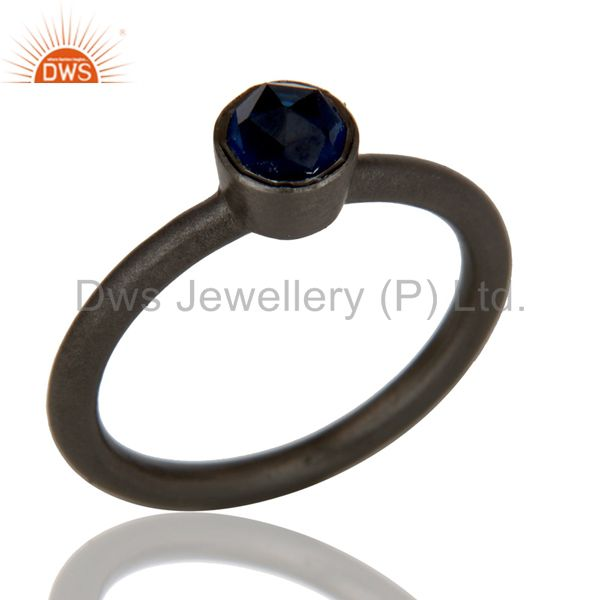 Oxidized Sterling Silver Sapphire Blue Corundum Stacking Ring