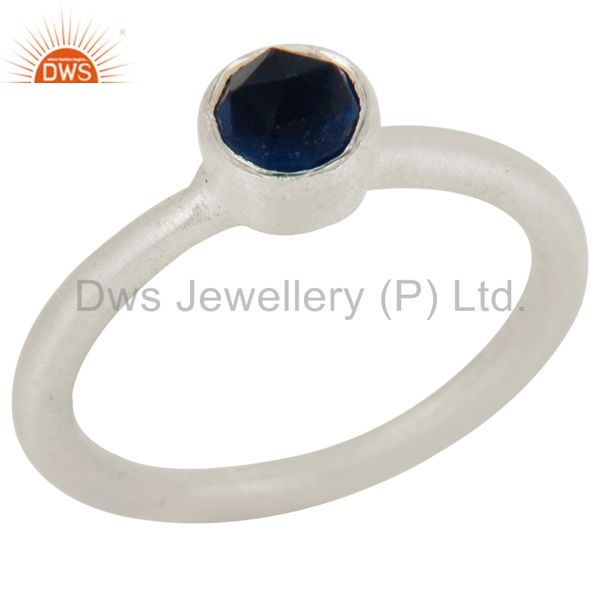 925 Sterling Silver Natural Blue Corundum Round Cut Stackable Ring