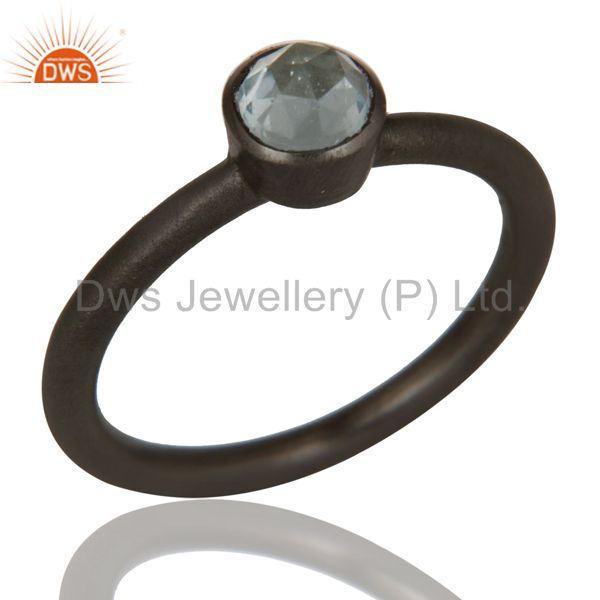 925 Sterling Silver Blue Topaz Gemstone Stacking Ring With Oxidized