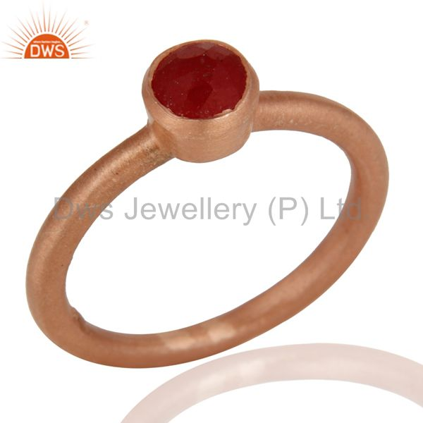 18K Rose Gold Plated Sterling Silver Red Aventurine Gemstone Stack Ring