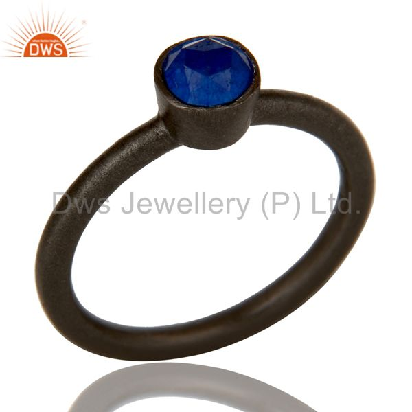 Beautiful Handmade Blue Aventurine Gemstone sterling silver black oxidizd ring