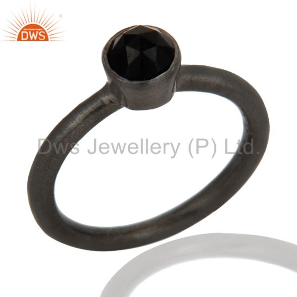 Oxidized Sterling Silver Black Onyx Gemstone Stackable Ring