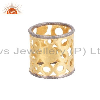 22K Yellow Gold Plated Solid Sterling Silver Wide Filigree Band Ring