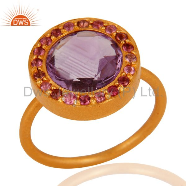 Handmade 925 Sterling Silver Amethyst Gemstone Ring With 18K Gold Plated