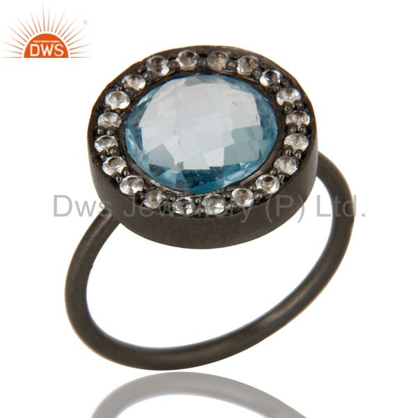 Black Oxidized 925 Sterling Silver Blue Topaz and White Topaz Statement Ring