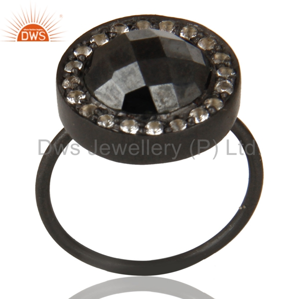 Black Oxidized 925 Sterling Silver Hematite & White Topaz Stackable Ring Jewelry