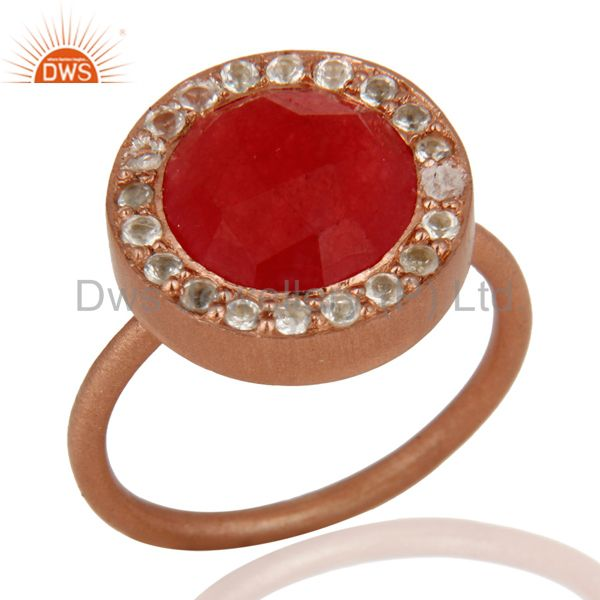 18K Rose Gold Plated Sterling Silver Red Aventurine & White Topaz Cocktail Ring