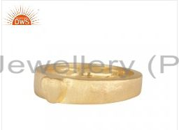 18K Yellow Gold Plated Sterling Silver Hammered Band Ring