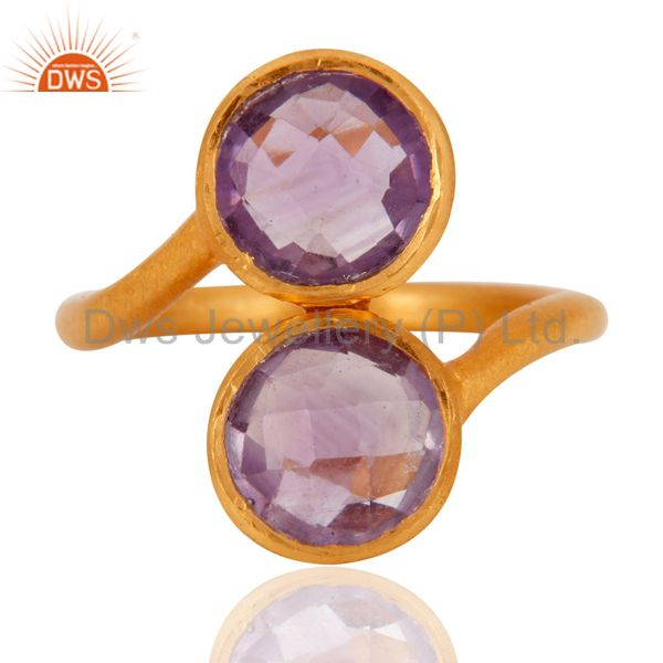 18K Yellow Gold Plated Sterling Silver Amethyst Gemstone Stacking Ring