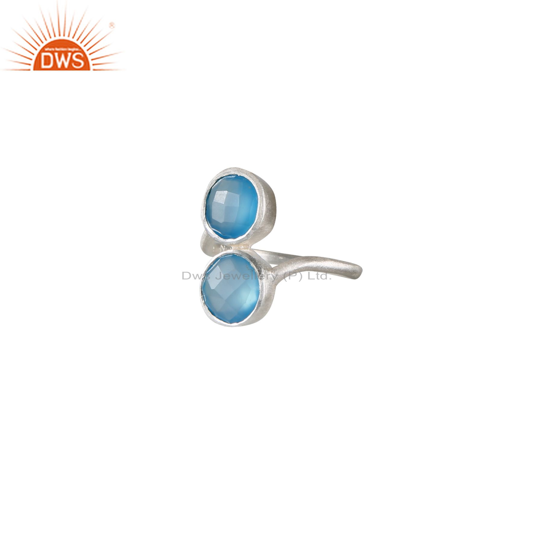 Handmade Sterling Silver Aqua Chalcedony Gemstone Stackable Ring