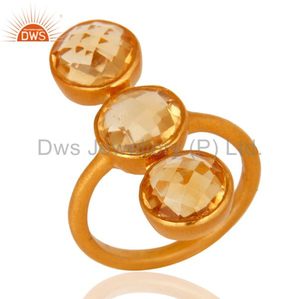 18K Yellow Gold Over Sterling Silver Natural Citrine Gemstone Statement Ring