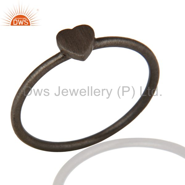 Black Rhodium Plated Sterling Silver Heart Design Engagement Ring