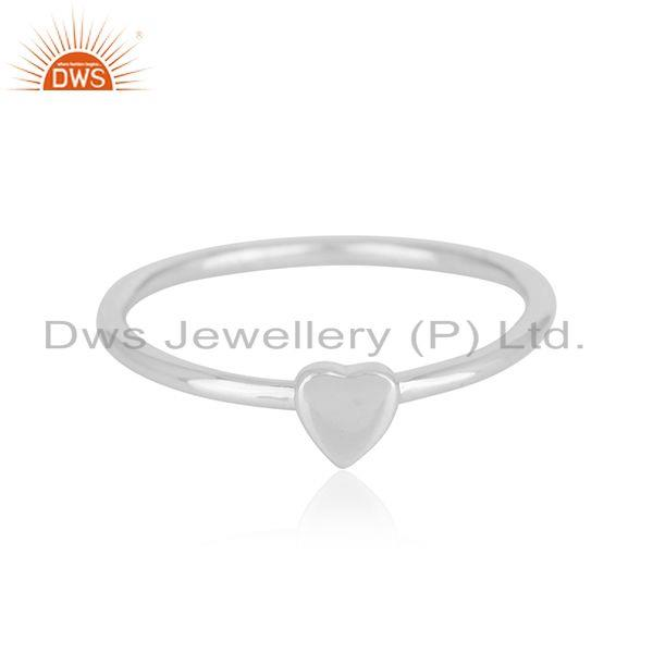 925 Sterling Silver Heart Design Engagement Ring Gift Jewelry