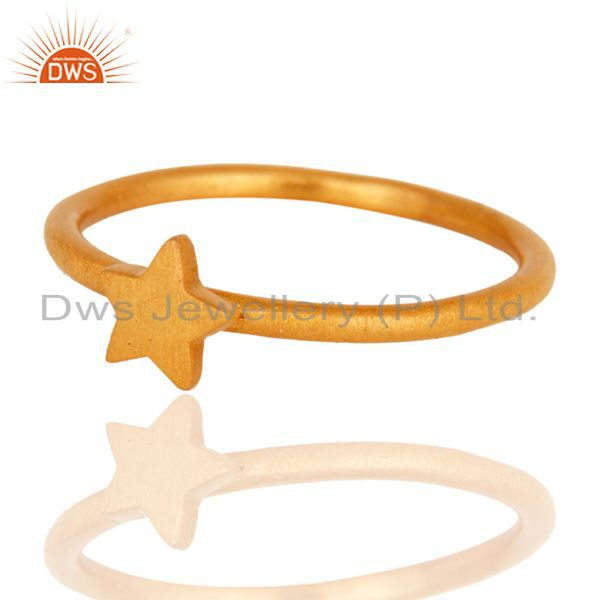 18K Yellow Gold Plated Sterling Silver Star Design Stackable Ring