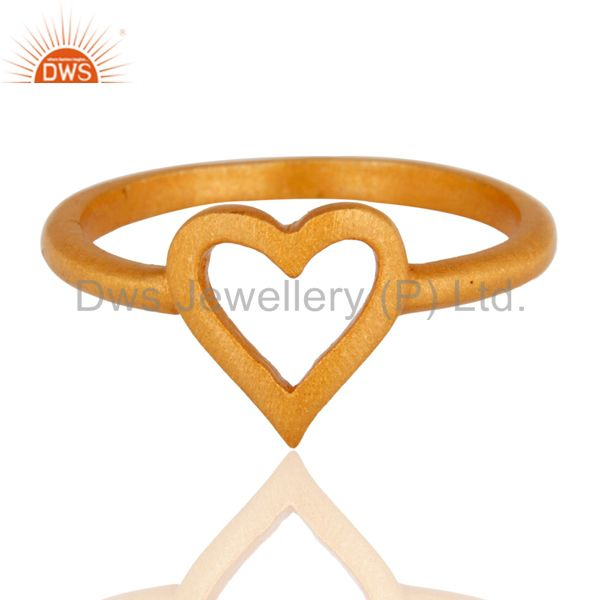 18K Yellow Gold Plated Sterling Silver Heart Design Stackable Ring