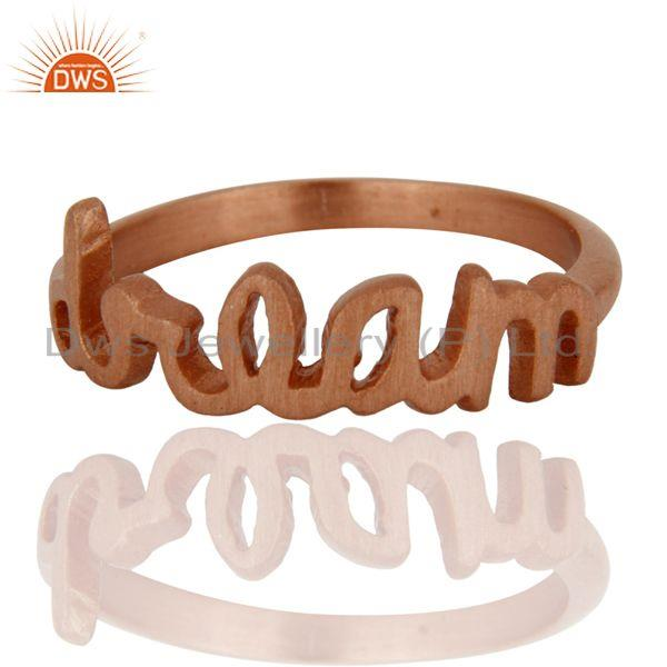 """18K Rose Gold Plated Sterling Silver Cursive Style """"Dream"""" Letter Ring"""
