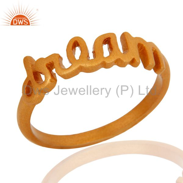 "18K Yellow Gold Plated Sterling Silver Cursive Style ""Dream"" Ring"