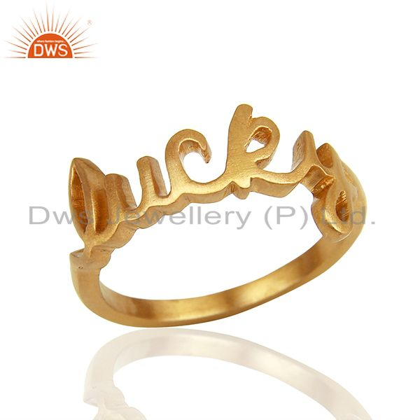 18K Yellow Gold Plated Sterling Silver Cursive Style Lucky Ring