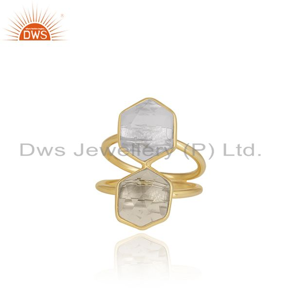 18K Yellow Gold Plated Sterling Silver Crystal Quartz Split Shank Statement Ring