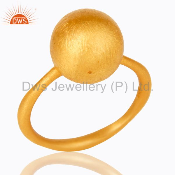 18K Yellow Gold Plated Sterling Silver Brushed Finish Stacking Ring