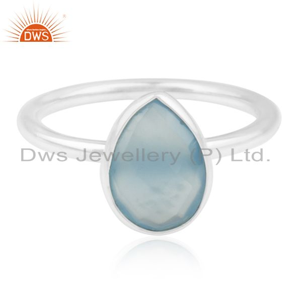 Blue Chalcedony Gemstone 925 Silver Handmade Ring Manufacturer for Private Label
